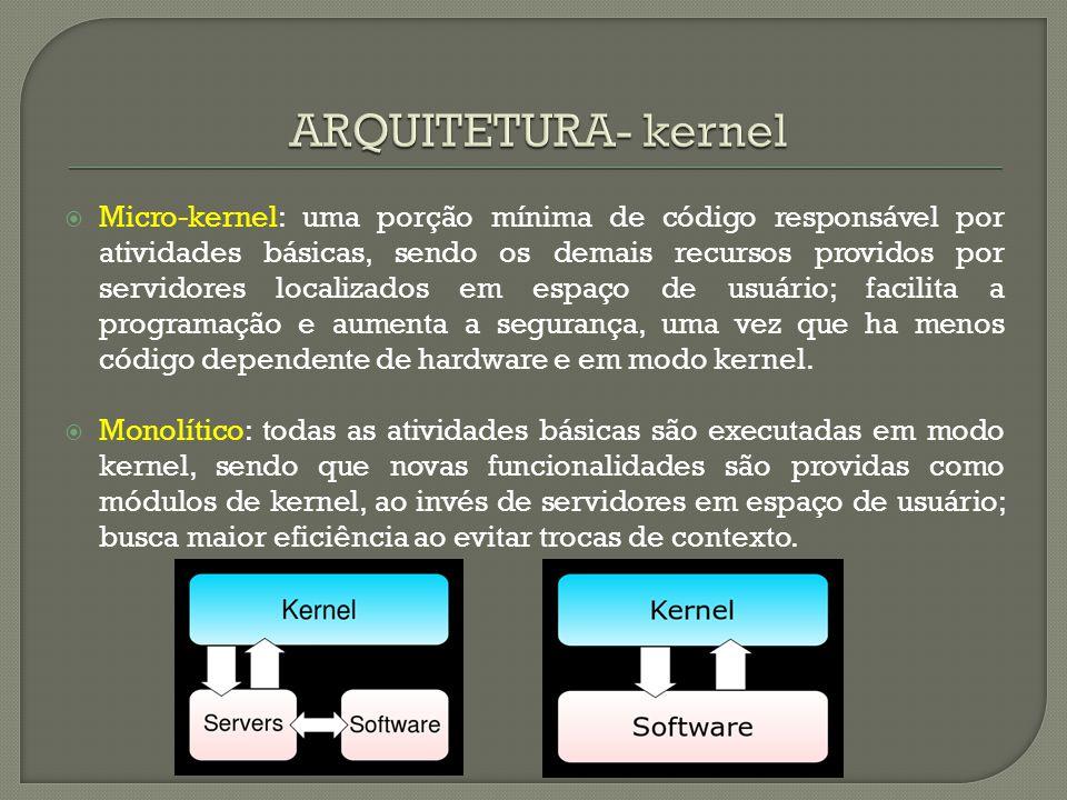  Micro-kernel: uma porção mínima de código responsável por atividades básicas, sendo os demais recursos providos por servidores localizados em espaço