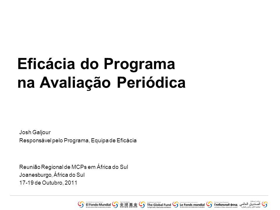 Resumo •Compreender de que forma a Avaliação Periódica se enquadra nas Principais Funções e Responsabilidades de Supervisão do MCP •Apresentar a metodologia em 7 etapas para a Avaliação Periódica do Financiamento baseado na Performance (FBP) •Rever os elementos de Eficácia do Programa: (i) Igualdade, (ii) Eficiência Económica (boa relação qualidade/preço) e (iii) Eficácia da Ajuda •Apresentar um exercício de estudo de caso Reunião Regional de MCPs em África do Sul Joanesburgo, 17 – 19 Outubro 2011