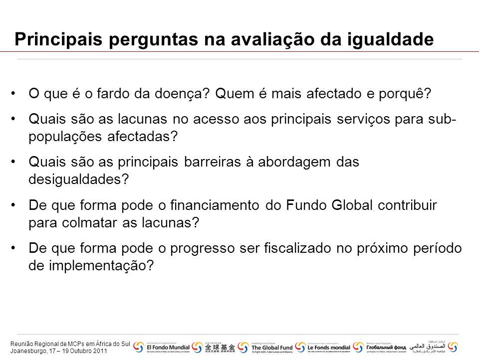 Principais perguntas na avaliação da igualdade •O que é o fardo da doença? Quem é mais afectado e porquê? •Quais são as lacunas no acesso aos principa