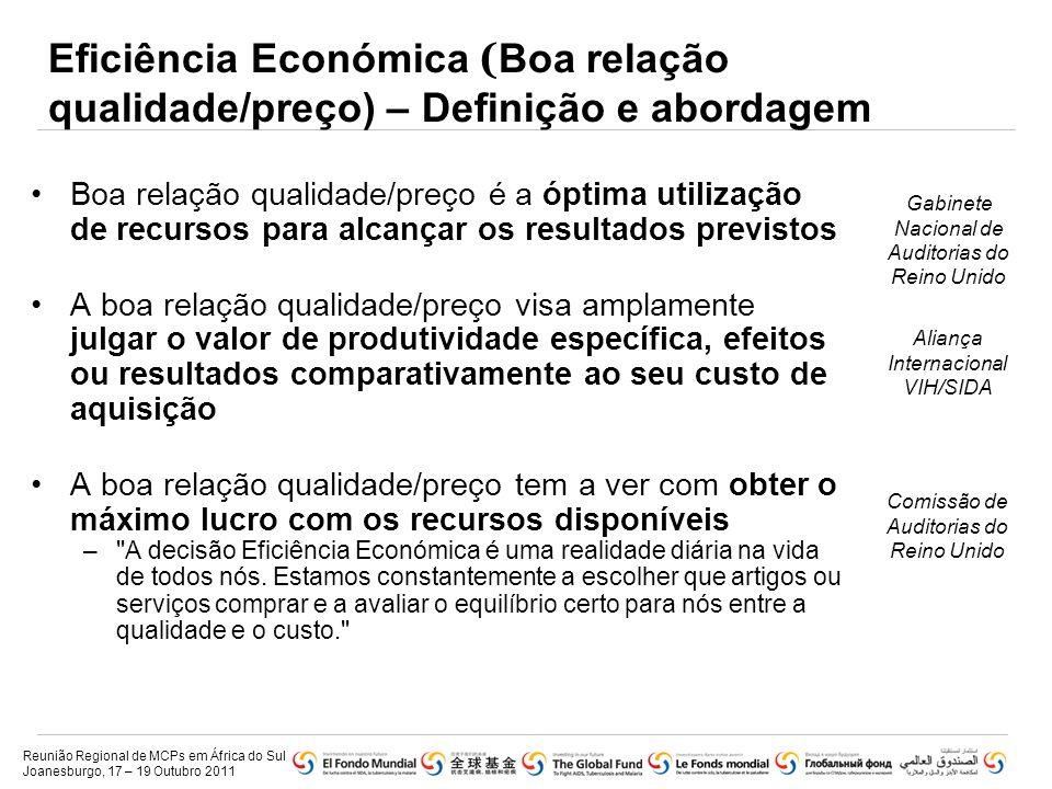 Eficiência Económica ( Boa relação qualidade/preço) – Definição e abordagem •Boa relação qualidade/preço é a óptima utilização de recursos para alcanç