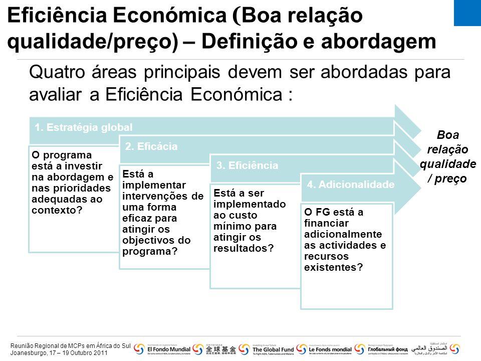 Eficiência Económica ( Boa relação qualidade/preço) – Definição e abordagem 1. Estratégia global O programa está a investir na abordagem e nas priorid