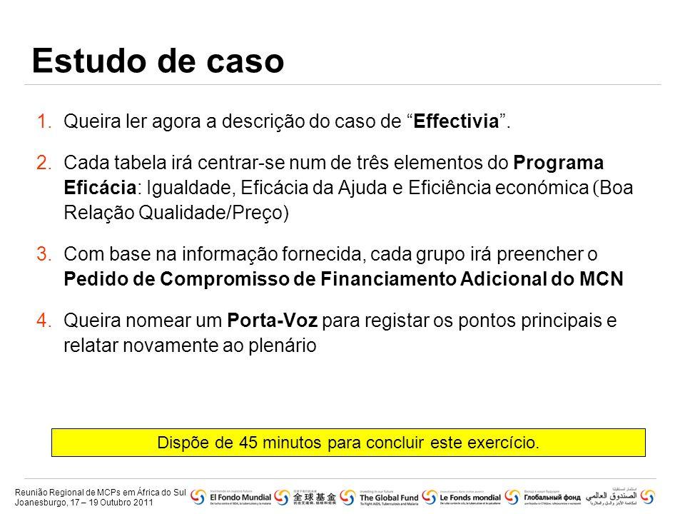 """Estudo de caso 1.Queira ler agora a descrição do caso de """"Effectivia"""". 2.Cada tabela irá centrar-se num de três elementos do Programa Eficácia: Iguald"""