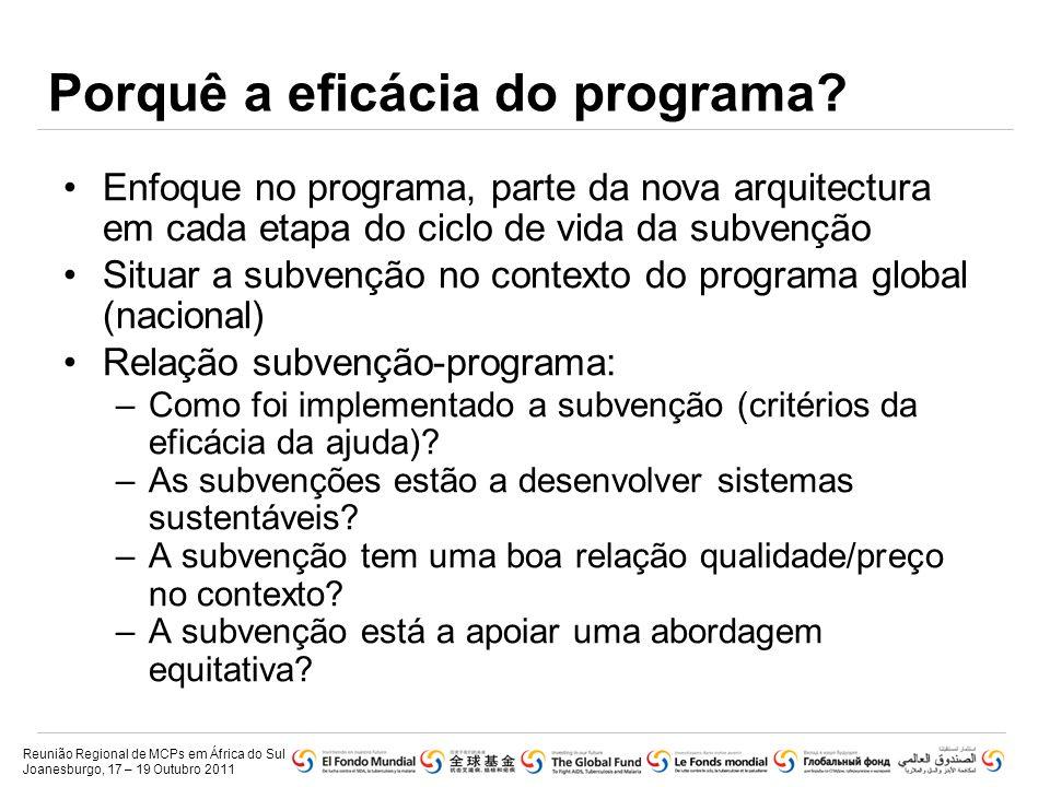 Porquê a eficácia do programa? •Enfoque no programa, parte da nova arquitectura em cada etapa do ciclo de vida da subvenção •Situar a subvenção no con