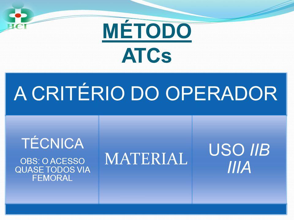 MÉTODO ATCs A CRITÉRIO DO OPERADOR TÉCNICA OBS: O ACESSO QUASE TODOS VIA FEMORAL MATERIAL USO IIB IIIA