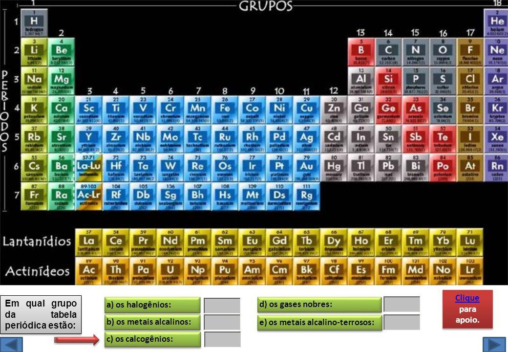 e) os metais alcalino-terrosos: Em qual grupo da tabela periódica estão: a) os halogênios: b) os metais alcalinos: c) os calcogênios: d) os gases nobr