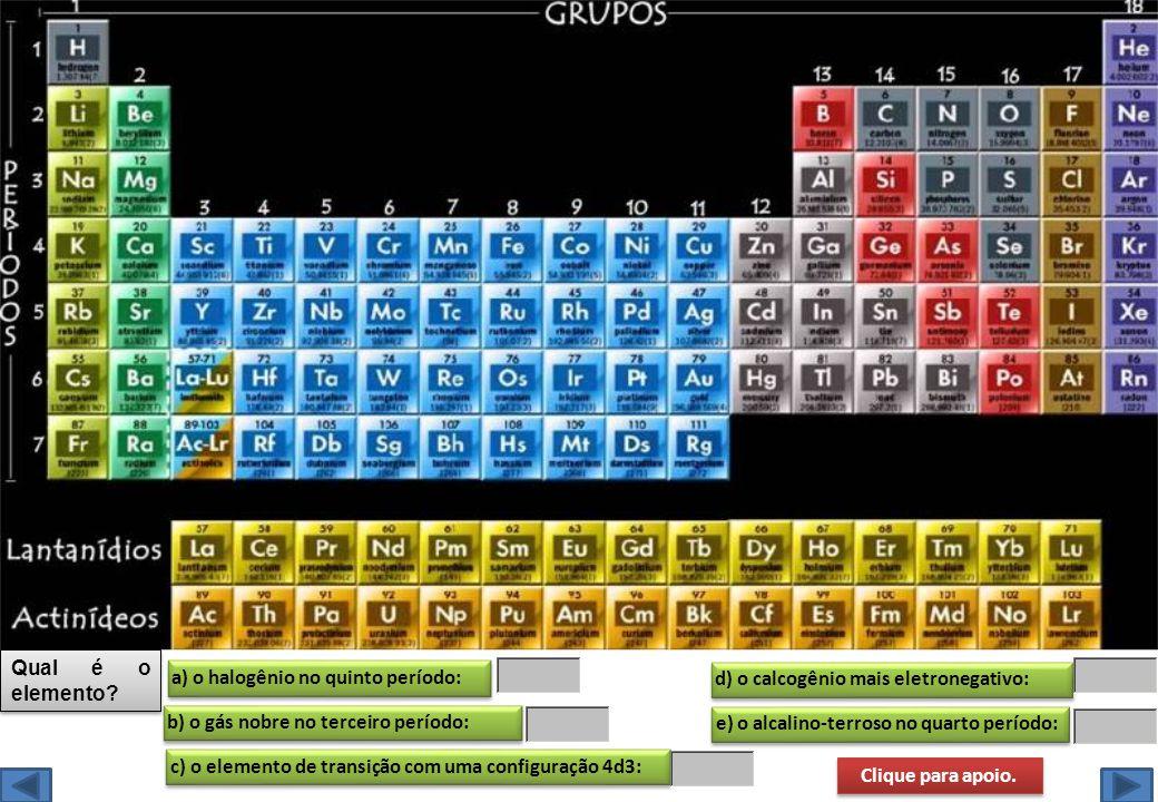 e) o alcalino-terroso no quarto período: Qual é o elemento? a) o halogênio no quinto período: b) o gás nobre no terceiro período: c) o elemento de tra