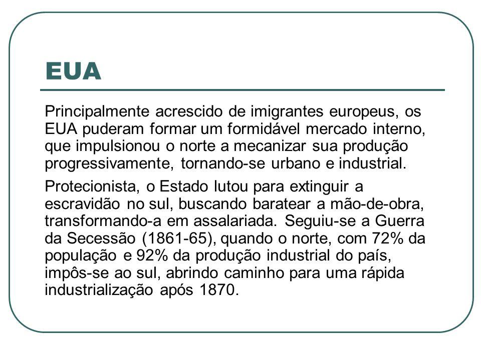 EUA Principalmente acrescido de imigrantes europeus, os EUA puderam formar um formidável mercado interno, que impulsionou o norte a mecanizar sua prod