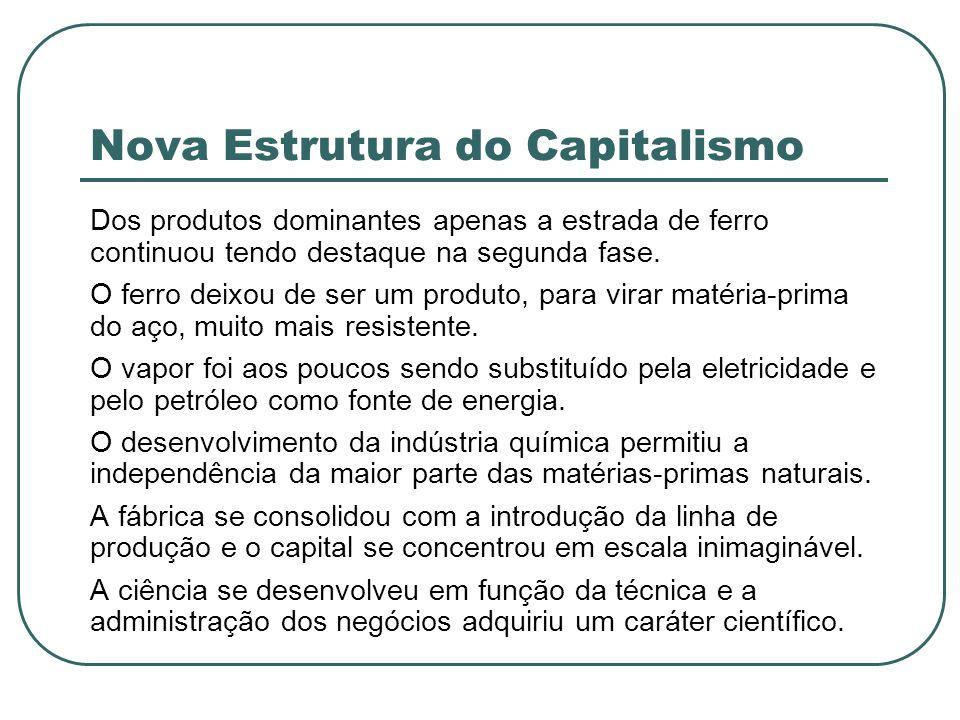 Nova Estrutura do Capitalismo Dos produtos dominantes apenas a estrada de ferro continuou tendo destaque na segunda fase. O ferro deixou de ser um pro