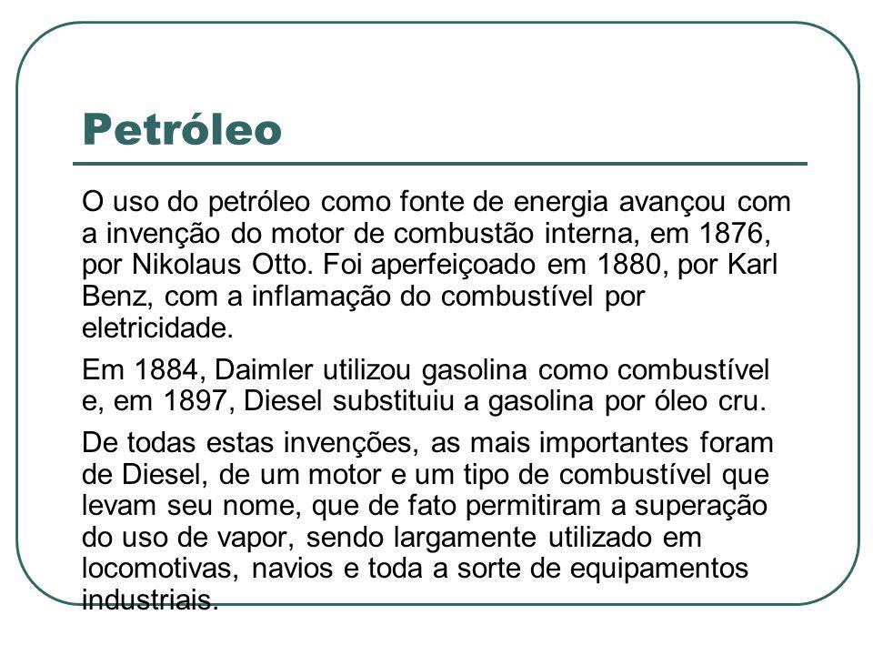 Petróleo O uso do petróleo como fonte de energia avançou com a invenção do motor de combustão interna, em 1876, por Nikolaus Otto. Foi aperfeiçoado em