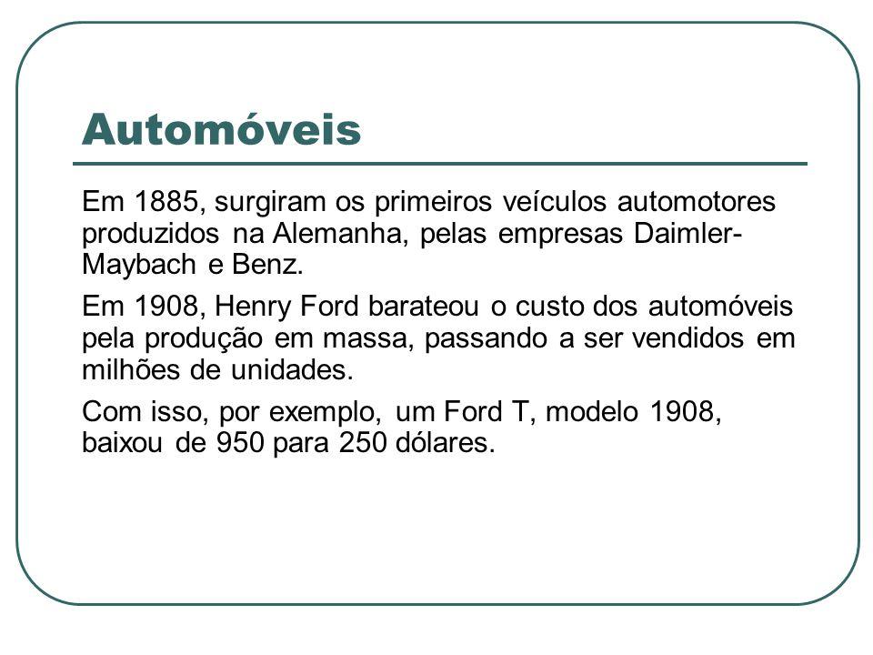 Automóveis Em 1885, surgiram os primeiros veículos automotores produzidos na Alemanha, pelas empresas Daimler- Maybach e Benz. Em 1908, Henry Ford bar