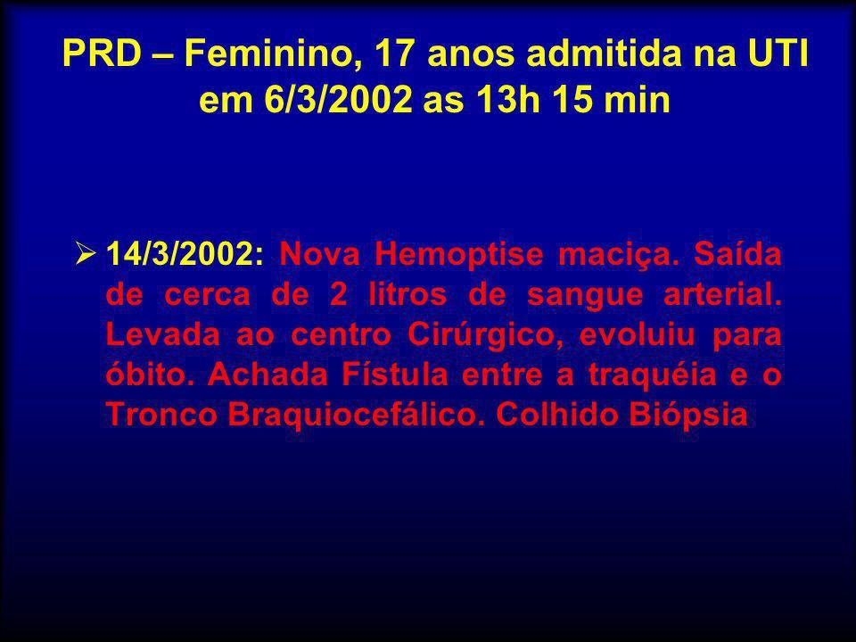  14/3/2002: Nova Hemoptise maciça. Saída de cerca de 2 litros de sangue arterial. Levada ao centro Cirúrgico, evoluiu para óbito. Achada Fístula entr