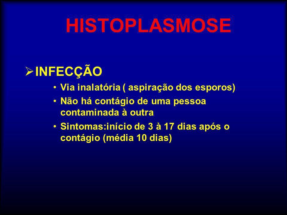 HISTOPLASMOSE  INFECÇÃO •Via inalatória ( aspiração dos esporos) •Não há contágio de uma pessoa contaminada à outra •Sintomas:início de 3 à 17 dias após o contágio (média 10 dias)