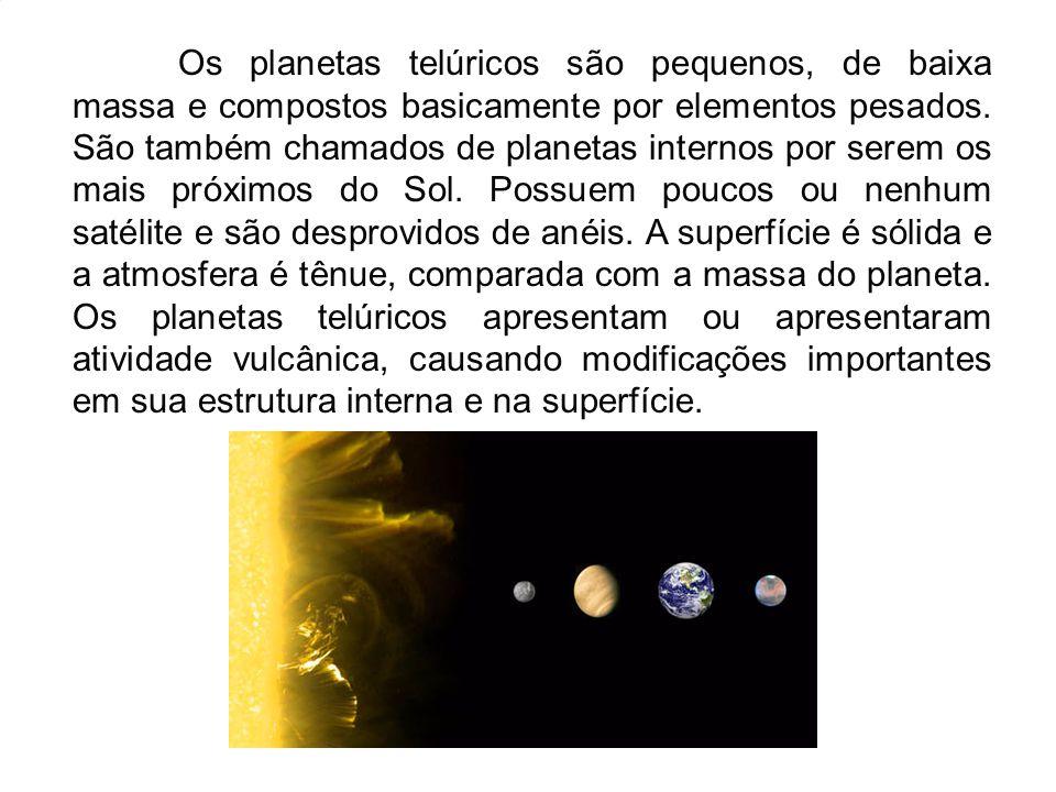 Os planetas telúricos são pequenos, de baixa massa e compostos basicamente por elementos pesados. São também chamados de planetas internos por serem o