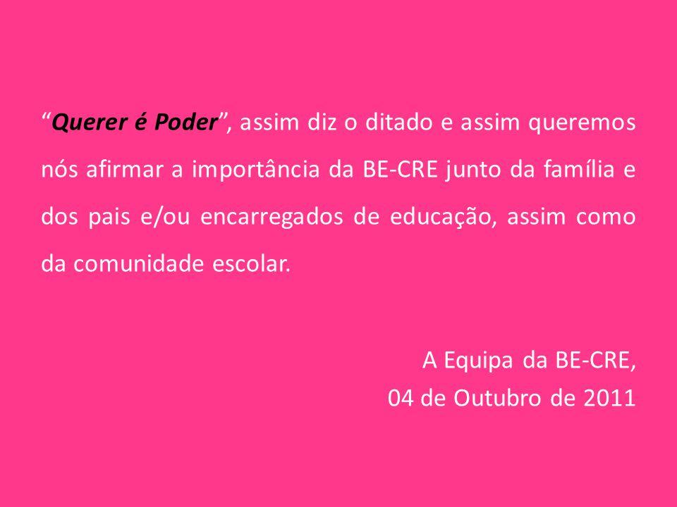 """""""Querer é Poder"""", assim diz o ditado e assim queremos nós afirmar a importância da BE-CRE junto da família e dos pais e/ou encarregados de educação, a"""