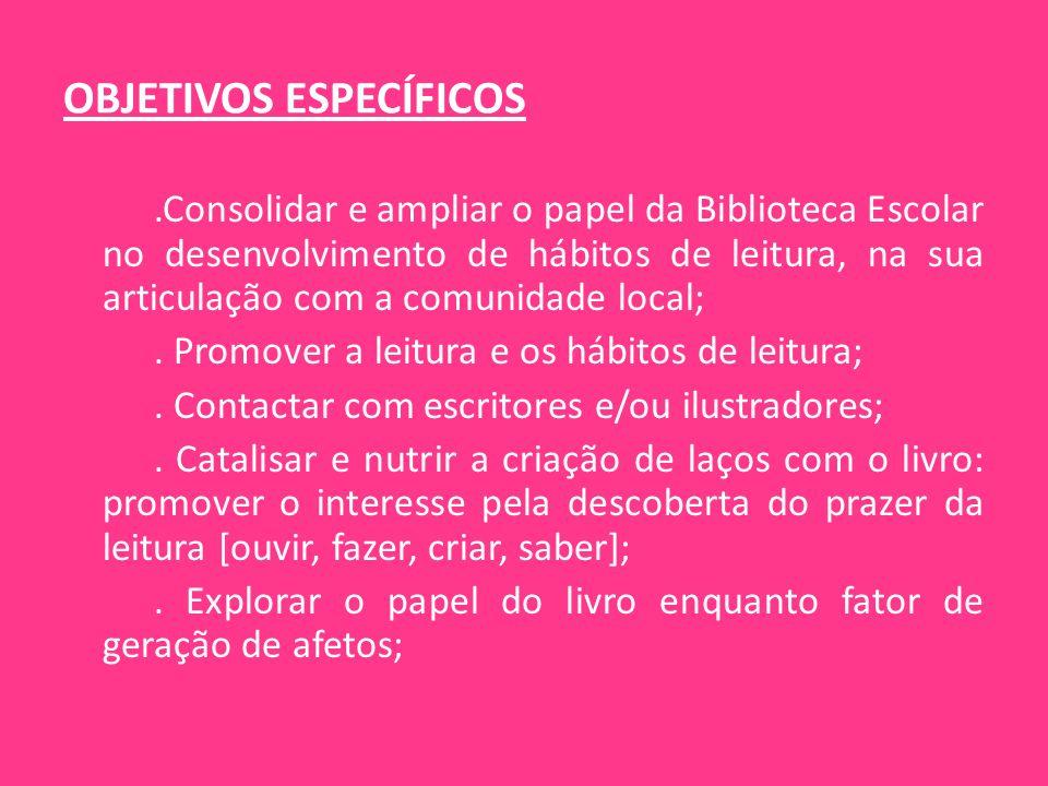 OBJETIVOS ESPECÍFICOS.Consolidar e ampliar o papel da Biblioteca Escolar no desenvolvimento de hábitos de leitura, na sua articulação com a comunidade