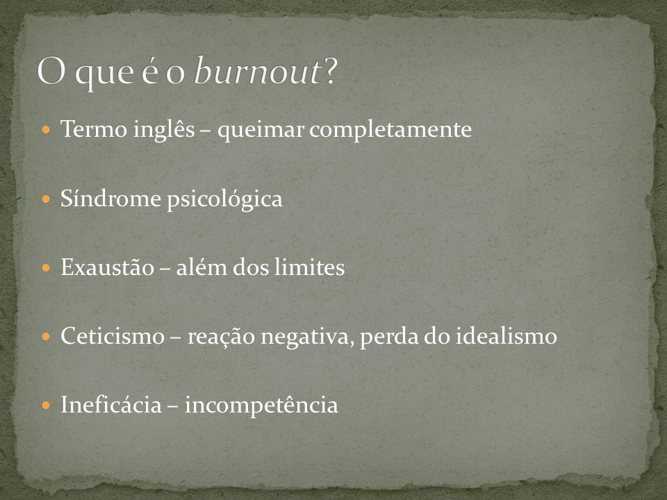  Termo inglês – queimar completamente  Síndrome psicológica  Exaustão – além dos limites  Ceticismo – reação negativa, perda do idealismo  Inefic