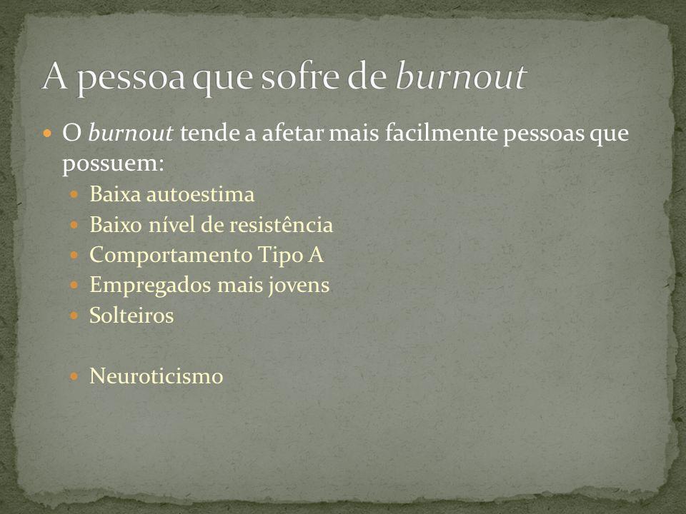  O burnout tende a afetar mais facilmente pessoas que possuem:  Baixa autoestima  Baixo nível de resistência  Comportamento Tipo A  Empregados mais jovens  Solteiros  Neuroticismo