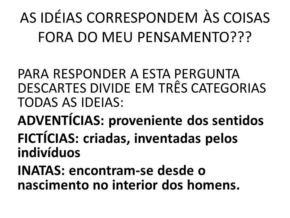 AS IDÉIAS CORRESPONDEM ÀS COISAS FORA DO MEU PENSAMENTO??.