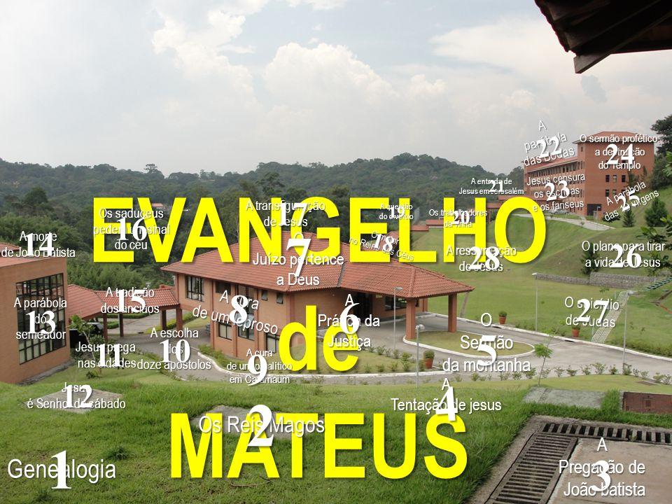 EVANGELHOdeMATEUS Genealogia 1 Os Reis Magos 2 A Pregação de João batista João batista 3 A Tentação de jesus 4 OSermão da montanha 5 A Prática da Just