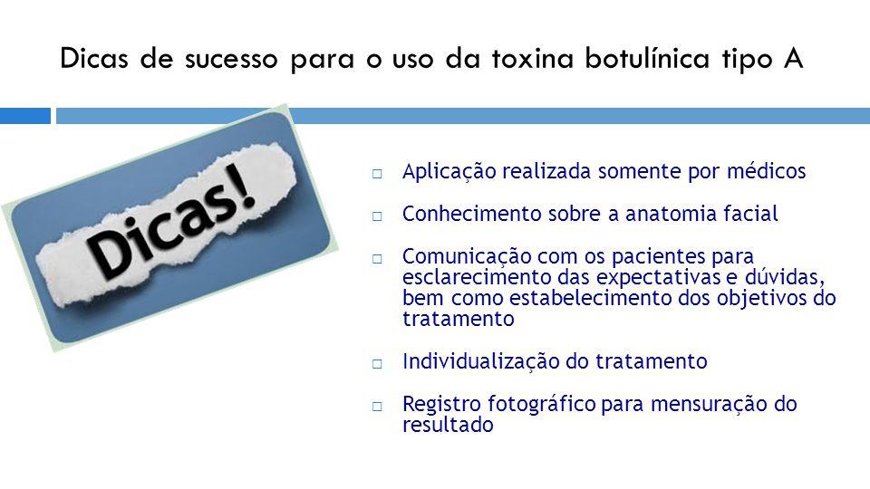 Dicas de sucesso para o uso da toxina botulínica tipo A  Aplicação realizada somente por médicos  Conhecimento sobre a anatomia facial  Comunicação