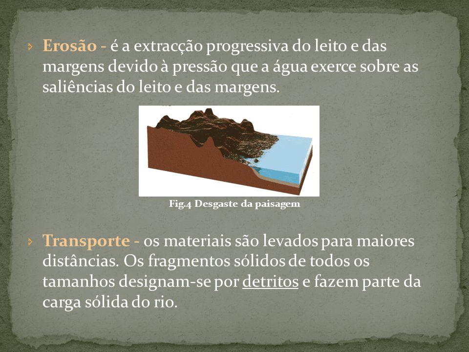 O transporte dos detritos processa-se por:  Suspensão (se forem materiais finos)  Saltação  Rolamento ou arrastamento (se forem materiais pesados) Fig.5 Diferentes formas de transporte de materiais