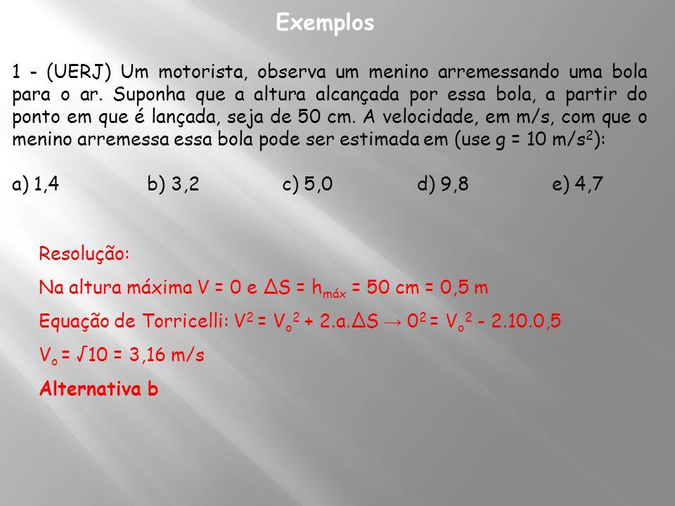 3 - Colocando a origem no ponto de lançamento, a pedra sobe, atinge a altura máxima e quando chega ao solo ocupa a posição S = - 60m Instante em que ela chega ao solo: S = V o.t – g.t 2 /2 → - 60 = 20t – 5t 2 t 2 - 4t – 12 = 0 → t = 6 s (instante em que ela chega ao solo) Velocidade dela quando chega ao solo: V = V o – gt → V = 20 – 10.6 V = - 40 m/s → em módulo: V = 40 m/s 4 - No instante em que a lâmpada se desprende do teto do elevador ele está sendo lançada para cima com velocidade de V o = 5 m/s Tempo de subida e descida até chegar ao piso: t = 0,5 s S = V o t – gt 2 /2 - x = 5.0,5 – 5.(0,5) 2 - x = - 1,25 m altura do elevador = 1,25 m