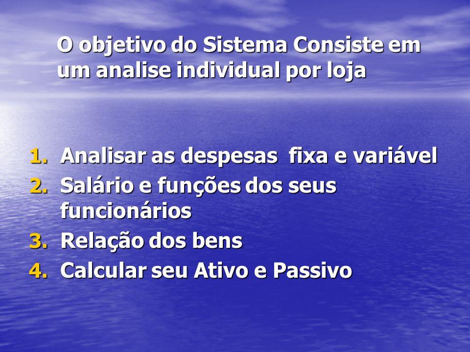 O objetivo do Sistema Consiste em um analise individual por loja 1.