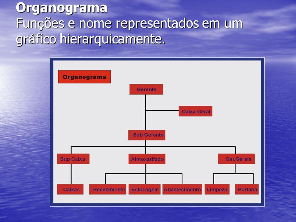 Organograma Fun ç ões e nome representados em um gr á fico hierarquicamente.