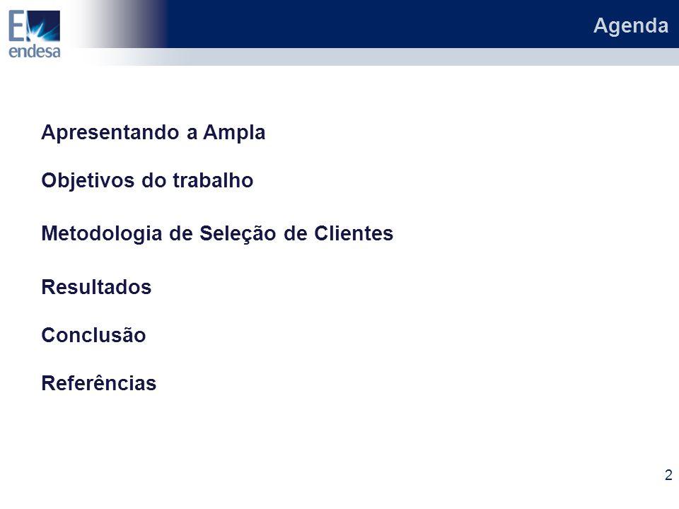 Agenda 2 Apresentando a Ampla Objetivos do trabalho Metodologia de Seleção de Clientes Resultados Conclusão Referências
