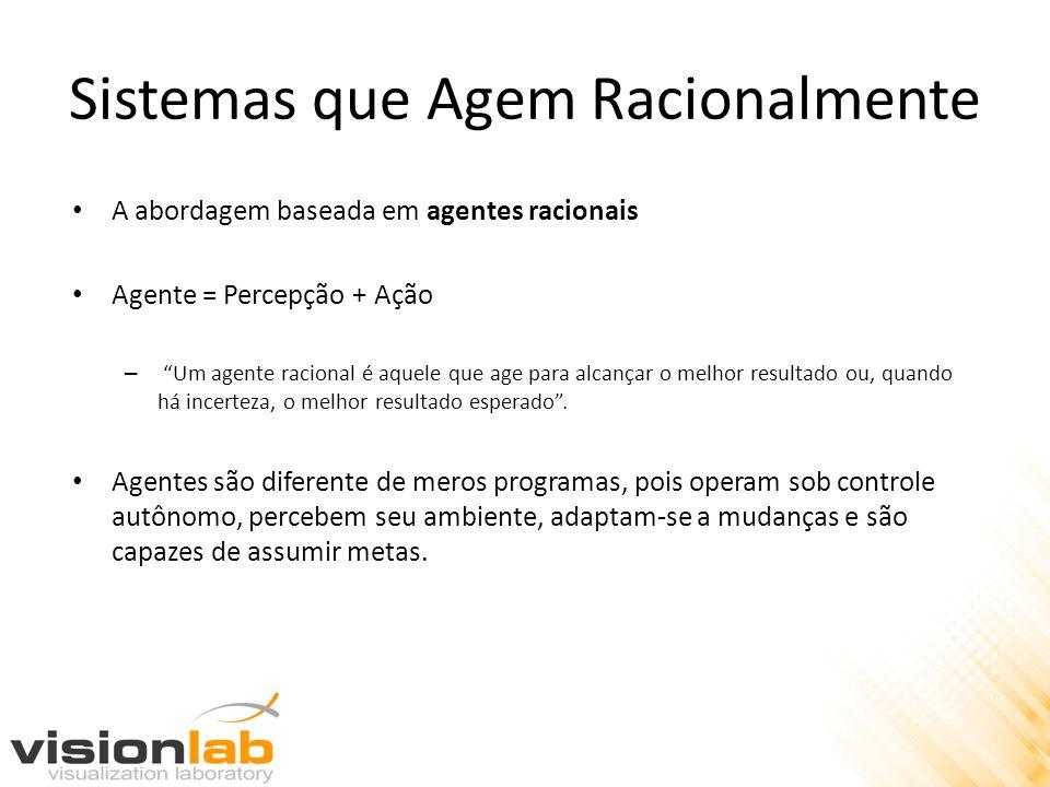 """Sistemas que Agem Racionalmente • A abordagem baseada em agentes racionais • Agente = Percepção + Ação – """"Um agente racional é aquele que age para alc"""