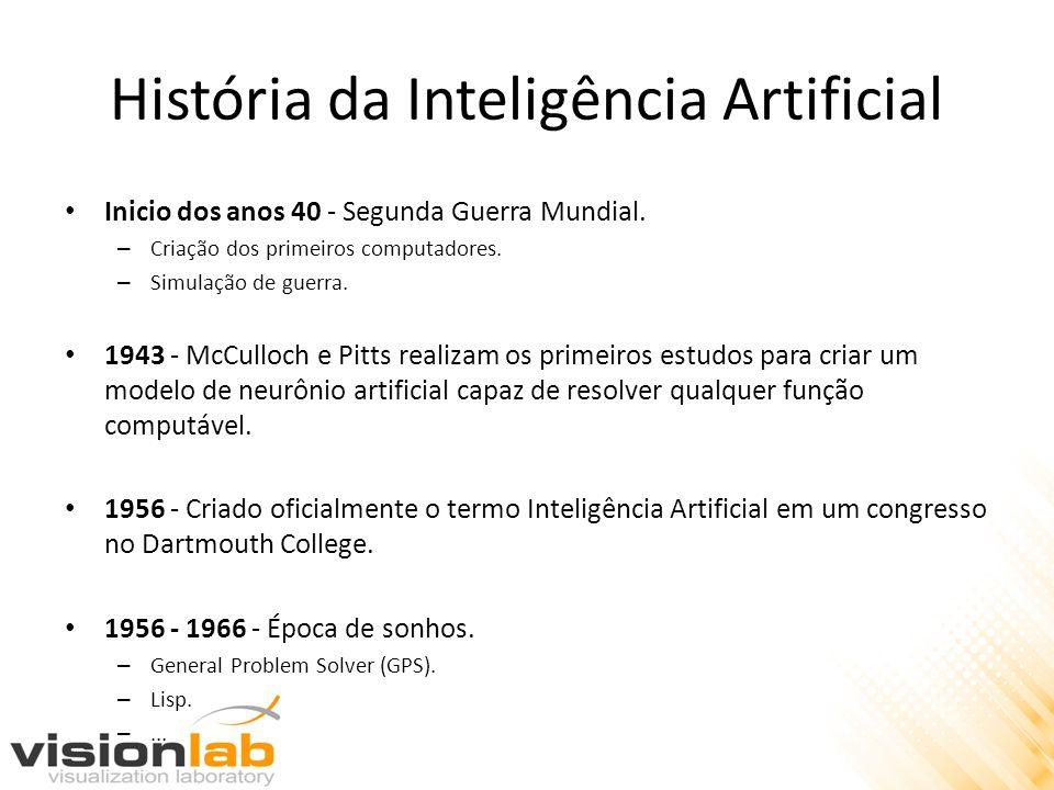 História da Inteligência Artificial • Inicio dos anos 40 - Segunda Guerra Mundial. – Criação dos primeiros computadores. – Simulação de guerra. • 1943