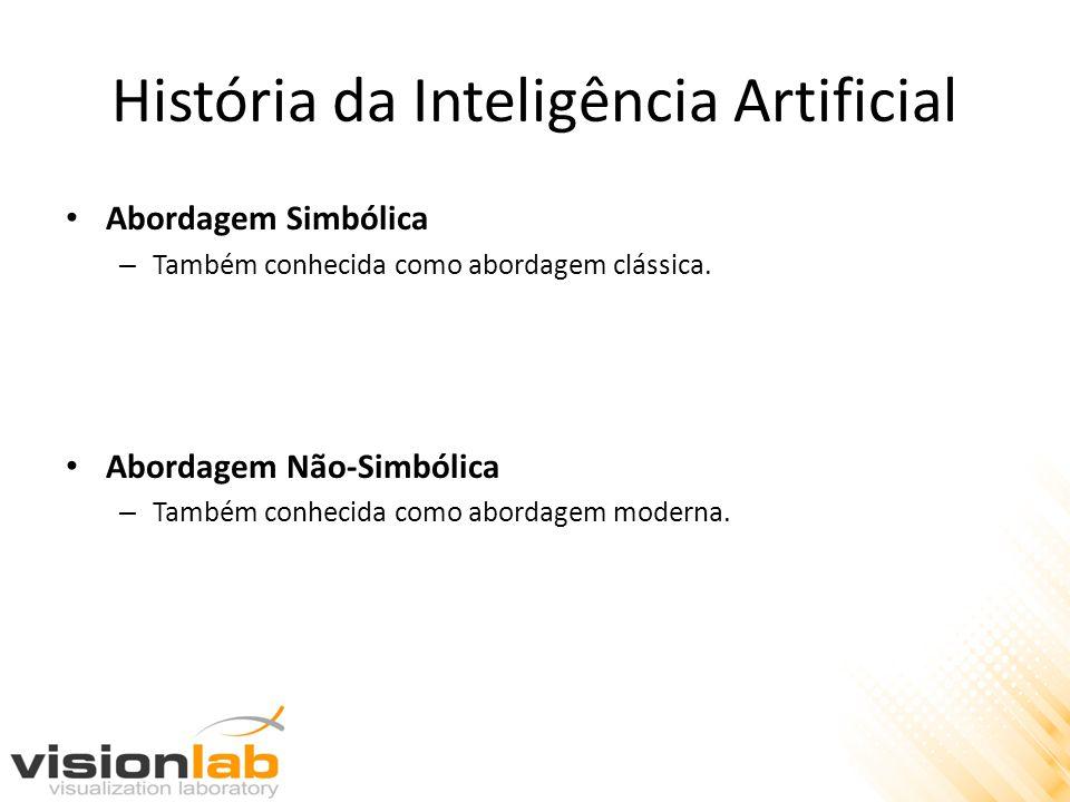 História da Inteligência Artificial • Abordagem Simbólica – Também conhecida como abordagem clássica. • Abordagem Não-Simbólica – Também conhecida com