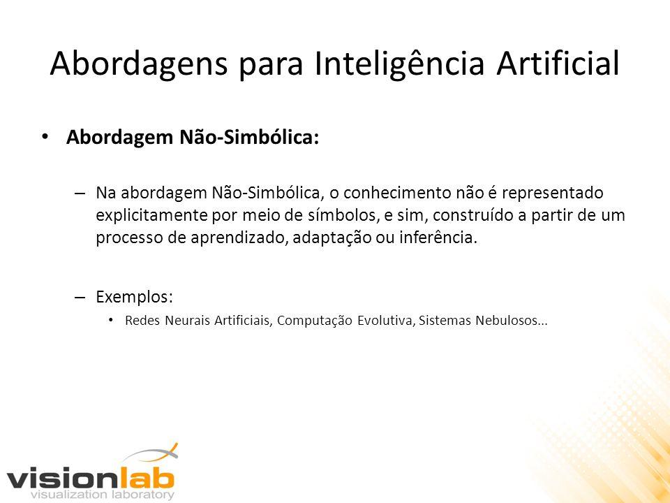 Abordagens para Inteligência Artificial • Abordagem Não-Simbólica: – Na abordagem Não-Simbólica, o conhecimento não é representado explicitamente por