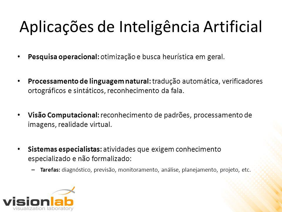 Aplicações de Inteligência Artificial • Pesquisa operacional: otimização e busca heurística em geral. • Processamento de linguagem natural: tradução a