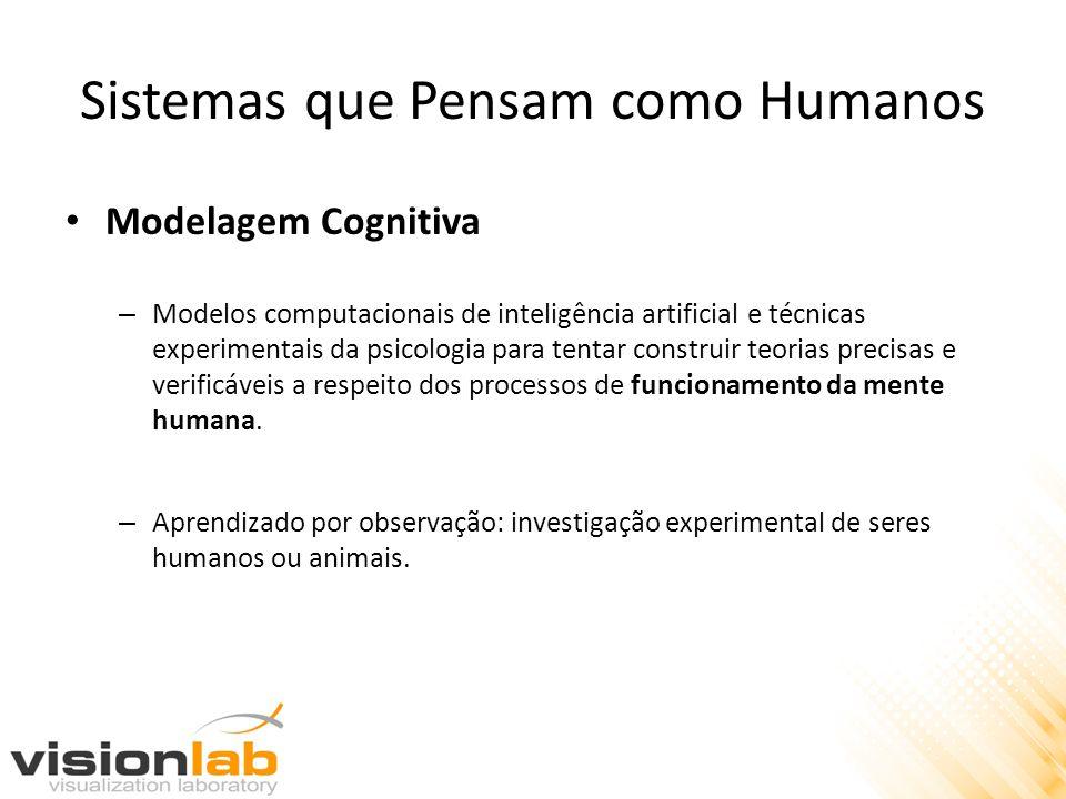 Sistemas que Pensam como Humanos • Modelagem Cognitiva – Modelos computacionais de inteligência artificial e técnicas experimentais da psicologia para