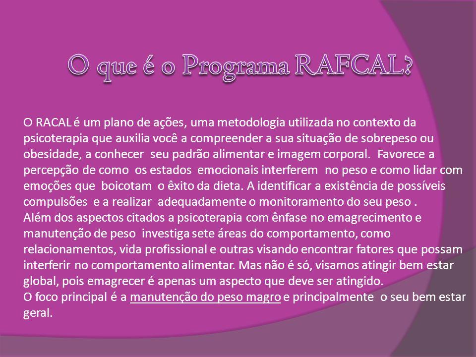 O RACAL é um plano de ações, uma metodologia utilizada no contexto da psicoterapia que auxilia você a compreender a sua situação de sobrepeso ou obesi