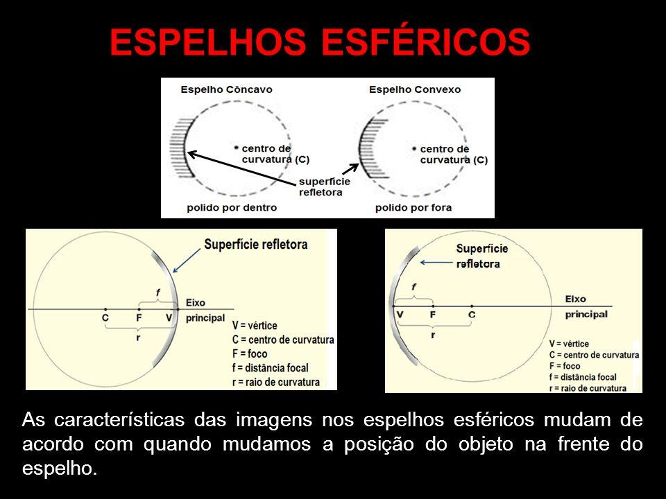 As características das imagens nos espelhos esféricos mudam de acordo com quando mudamos a posição do objeto na frente do espelho.