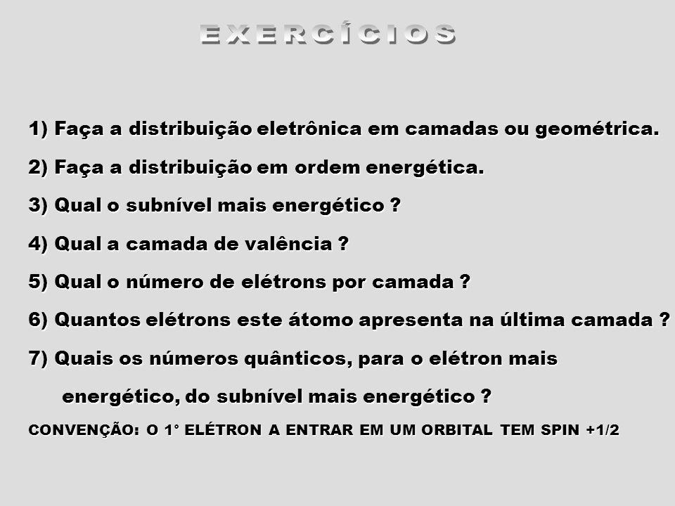 1) Faça a distribuição eletrônica em camadas ou geométrica. 2) Faça a distribuição em ordem energética. 3) Qual o subnível mais energético ? 4) Qual a