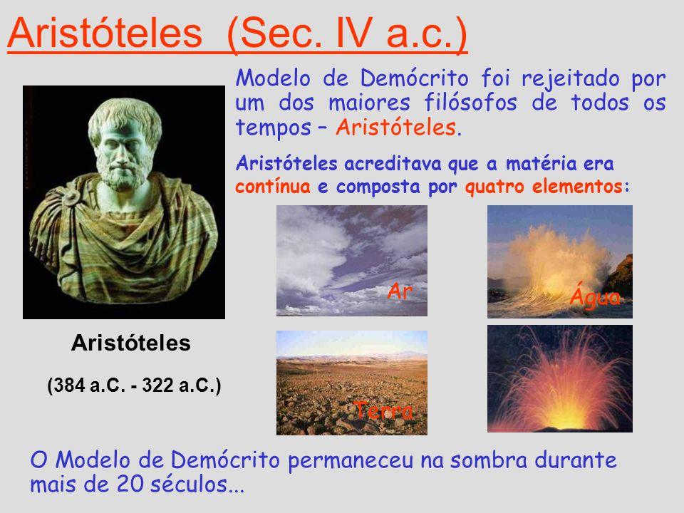 Aristóteles (Sec. IV a.c.) Aristóteles (384 a.C. - 322 a.C.) Modelo de Demócrito foi rejeitado por um dos maiores filósofos de todos os tempos – Arist