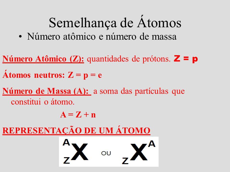 Semelhança de Átomos •Número atômico e número de massa Número Atômico (Z): quantidades de prótons. Z = p Átomos neutros: Z = p = e Número de Massa (A)