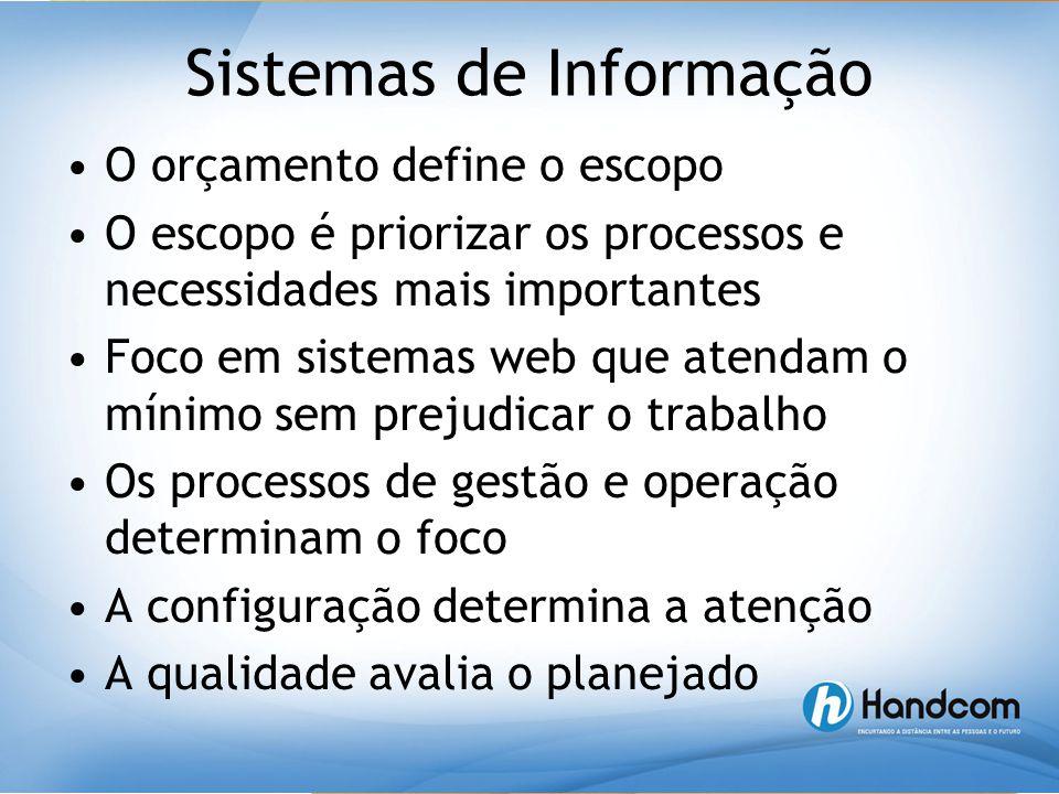 Sistemas de Informação •O orçamento define o escopo •O escopo é priorizar os processos e necessidades mais importantes •Foco em sistemas web que atend