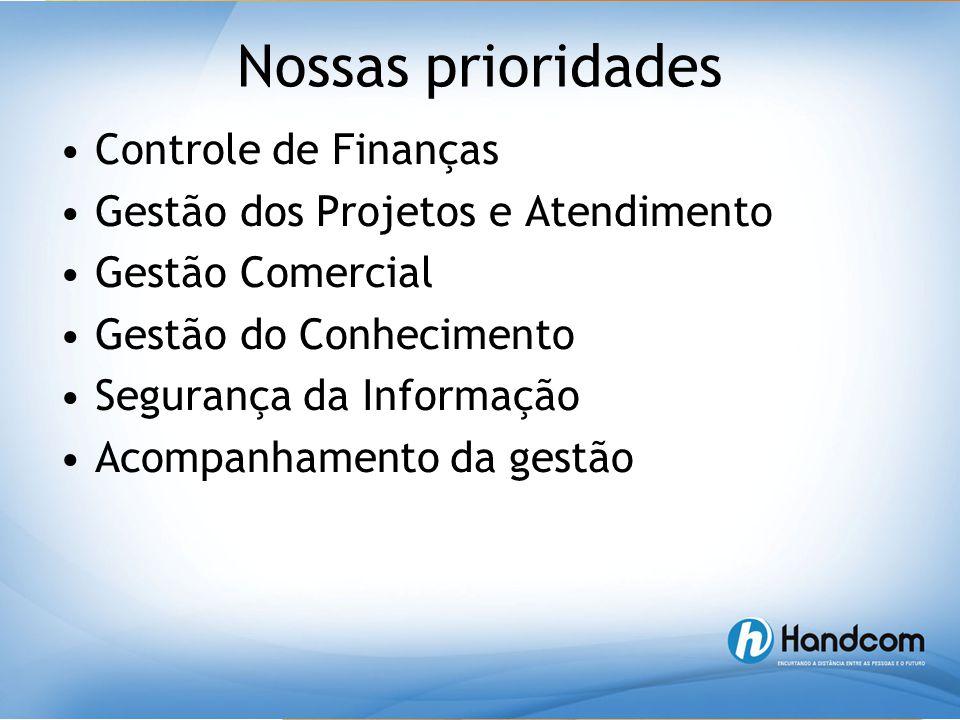 Nossas prioridades •Controle de Finanças •Gestão dos Projetos e Atendimento •Gestão Comercial •Gestão do Conhecimento •Segurança da Informação •Acompa