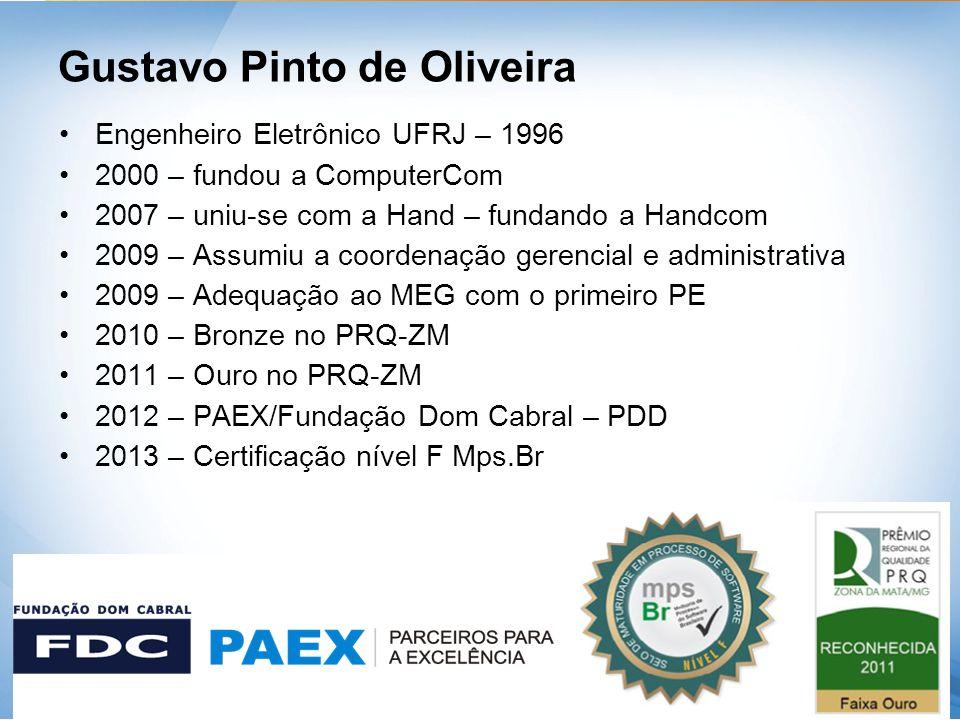 Gustavo Pinto de Oliveira •Engenheiro Eletrônico UFRJ – 1996 •2000 – fundou a ComputerCom •2007 – uniu-se com a Hand – fundando a Handcom •2009 – Assu