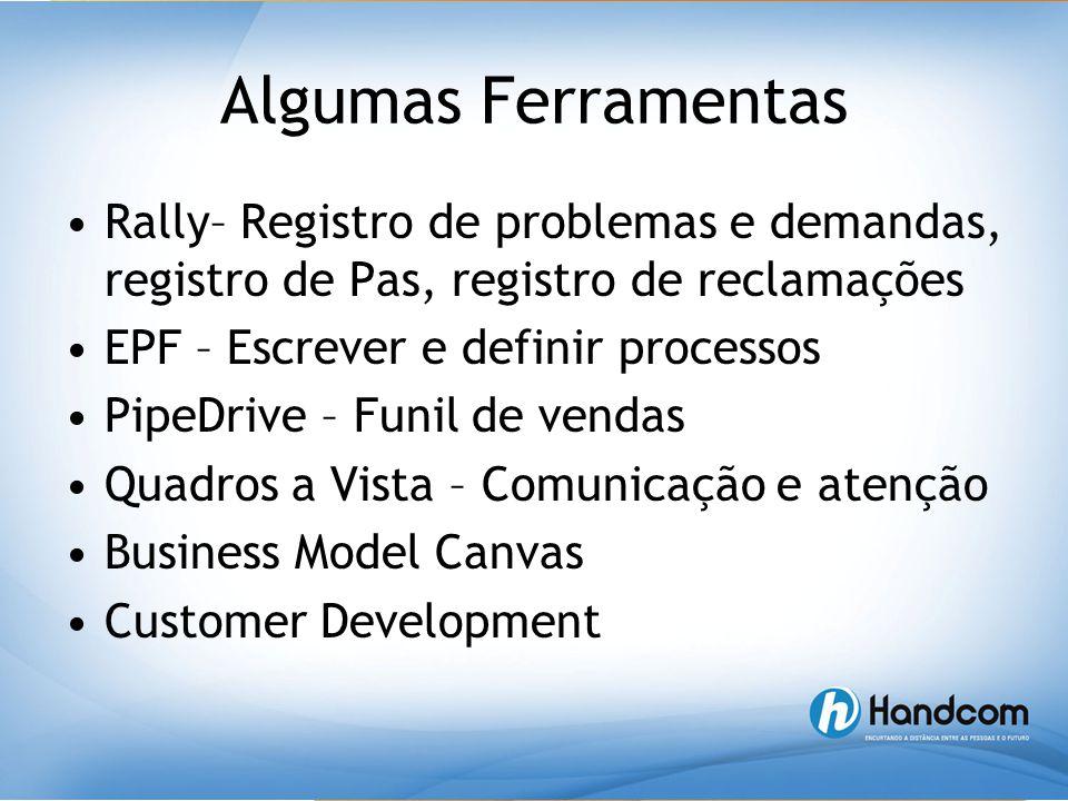 Algumas Ferramentas •Rally– Registro de problemas e demandas, registro de Pas, registro de reclamações •EPF – Escrever e definir processos •PipeDrive