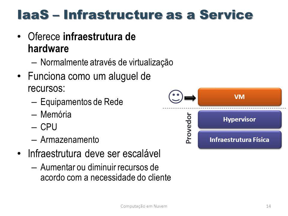 IaaS – Infrastructure as a Service • Oferece infraestrutura de hardware – Normalmente através de virtualização • Funciona como um aluguel de recursos: