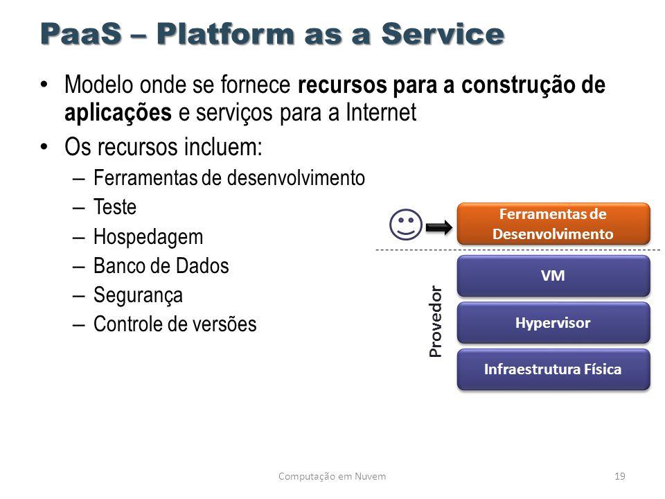 PaaS – Platform as a Service • Modelo onde se fornece recursos para a construção de aplicações e serviços para a Internet • Os recursos incluem: – Fer