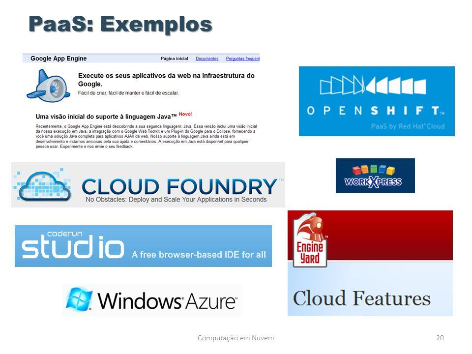 PaaS: Exemplos 20Computação em Nuvem