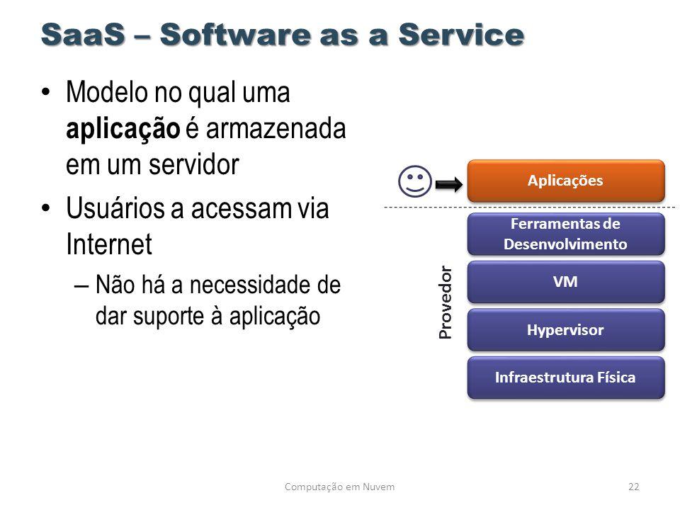 SaaS – Software as a Service • Modelo no qual uma aplicação é armazenada em um servidor • Usuários a acessam via Internet – Não há a necessidade de da