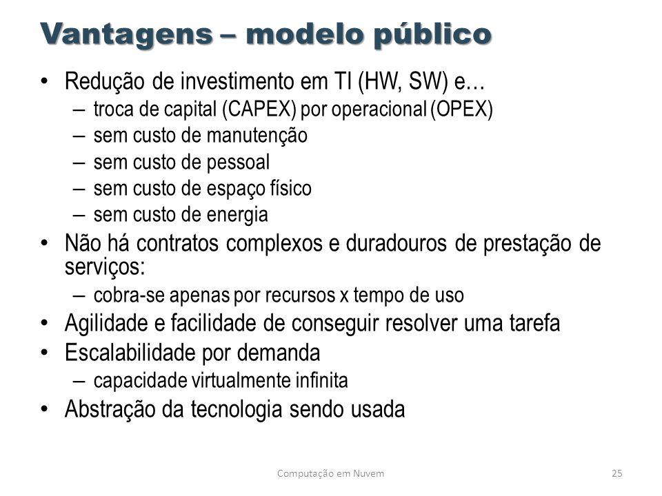 Vantagens – modelo público • Redução de investimento em TI (HW, SW) e… – troca de capital (CAPEX) por operacional (OPEX) – sem custo de manutenção – s