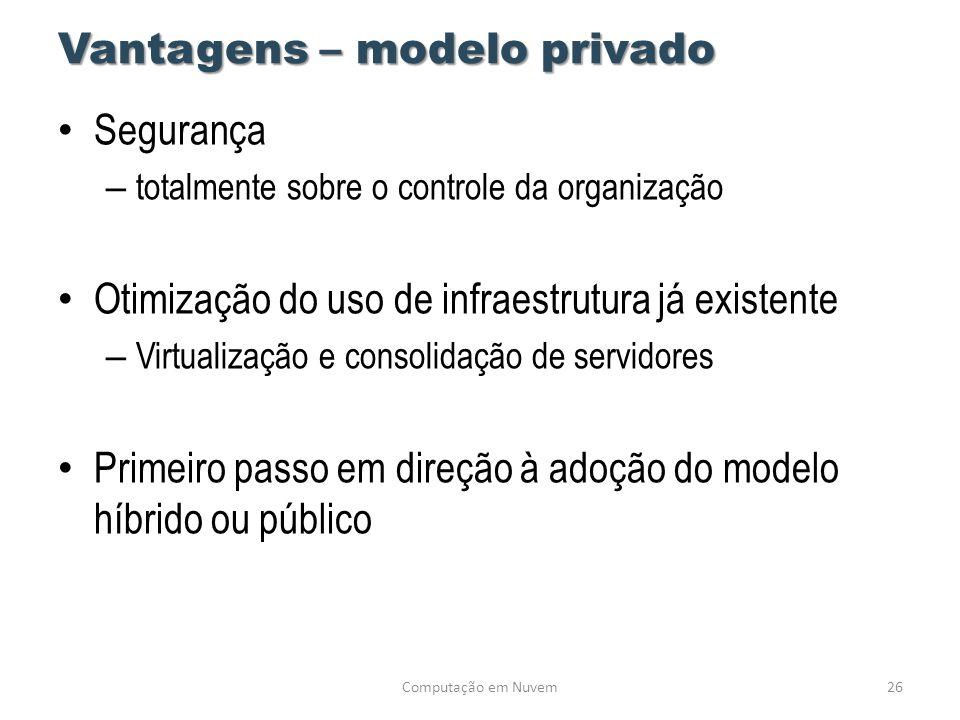 Vantagens – modelo privado • Segurança – totalmente sobre o controle da organização • Otimização do uso de infraestrutura já existente – Virtualização
